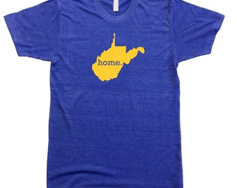 Homeland Tees Men's West Virginia Home T-shirt NAVY and GOLD
