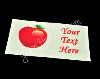 "Red Apple - ""Iron On"" or ""Sew In"" - Cotton Fabric Labels (White) - For Crochet, Knit, Sew and Quilt Heirlooms"