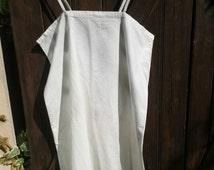 Victorian 1900's White Cotton Slip Dress Handmade Monogram Embroidered Medium