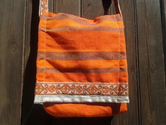 Boho Orange  Flap Top bag Handmade Woven Cotton Fabric Messenger #SophieLadyDeParis