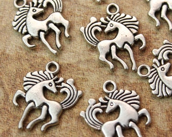 10 Horse Charms Horse Pendants Antiqued Silver Tone Double Sided 15 x 16 mm