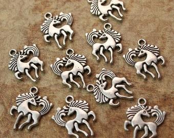 Bulk 40 Horse Charms Horse Pendants Antiqued Silver Tone Double Sided Wholesale Lot 15 x 16 mm