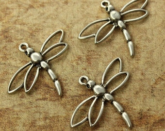 10 Dragonfly Charms Dragonfly Pendants Antiqued Silver Tone 25 x 33 mm