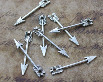Bulk 50 Arrow Charms Arrow Pendants Antiqued Silver Tone Double Sided  5 x 30 mm Wholesale Lot