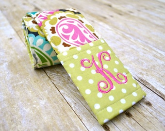 Monogrammed paisley camera strap cover with lens cap pocket