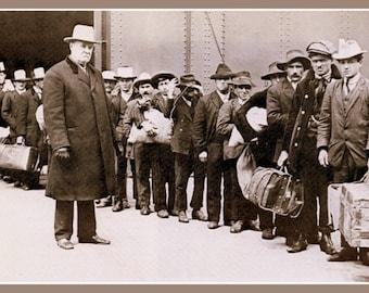Italian immigrants at Ellis Island America 1911 Print 8x10