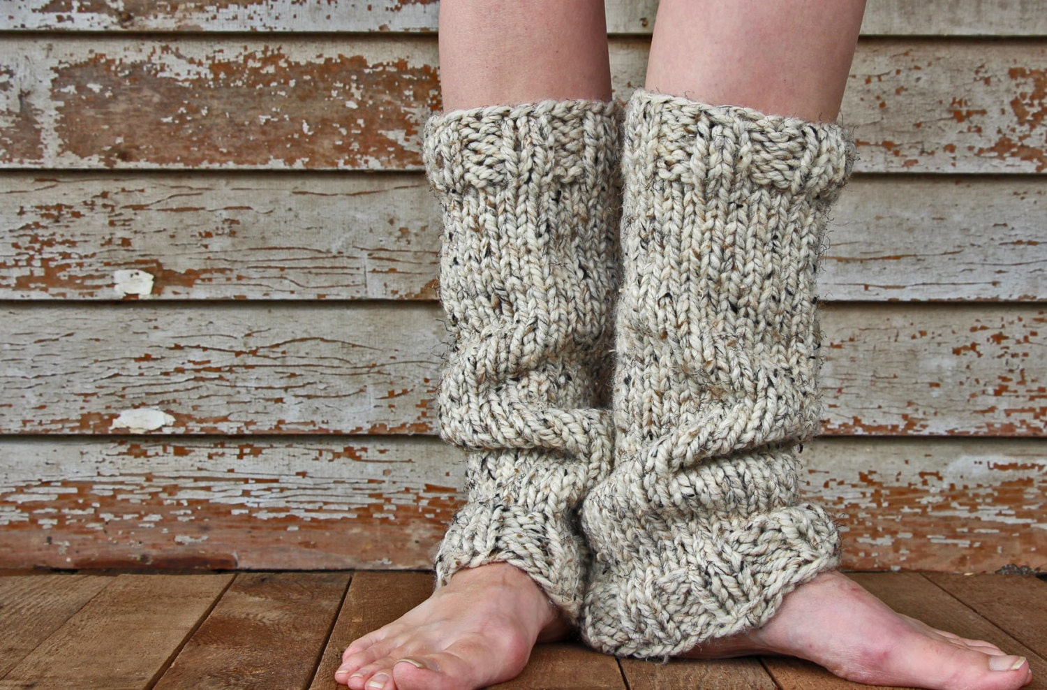 Leg Warmers Knitting Pattern In The Round : Womens Leg Warmers Knitting Pattern STRENGTH a set of