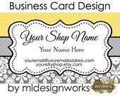 Business Card Design - Elegant Business Card - Premade Business Card - Damask Business Card Design