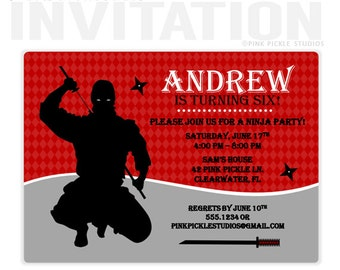NINJA Birthday Party Invitations, personalized thank you cards, birthday invitations, party invitations / No.42