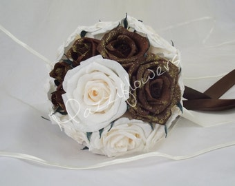 Bridal bouquet,wedding bouquets, paper flower, bouquet paper flower, bridal flower,roses ivory,