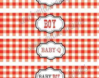 Water bottle Labels baby BOY Red BABY-Q Instant Download-By Sweet Willow Designs
