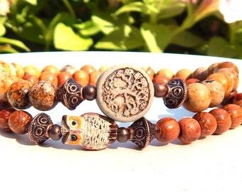 Owl Jewley, Tree Bracelet, Boho Bracelet, Woodland Bracelet Beaded Bracelet, Rustic Chic Bracelet, Owl Bracelet Rustic Jewelry Nature Girl