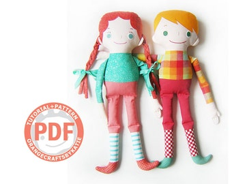 Big doll / PDF sewing tutorial and patterns / soft doll for children
