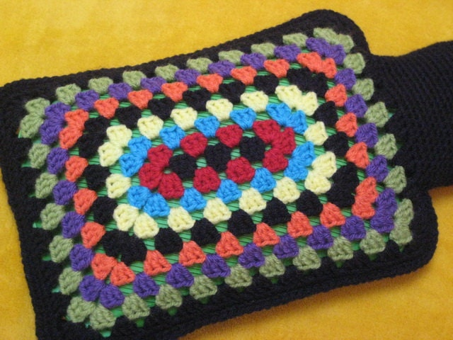 Crochet Granny Square Hot Water Bottle Cover Pattern : Granny Square Rectangular Hot Water Bottle Cover Crochet