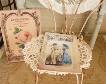 """Miniature magazine, """"La Mode Illustree"""", Paper printed, Parisian fashion, Doll's accessory, French dollhouse, 1:12th scale"""