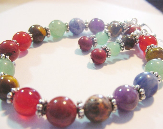 Chakra Bracelet & Earrings, Chakra Balancing Clearing, 7 Semi-Precious Stones, Energy Vibrational, Harmony, Healing Bracelet