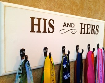 His and Hers medal display  - Marathon, Half Marathon, TRI, 10K Running Medal Holder