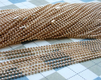 20 pcs rose gold  Ball Chain Necklaces - 27inch, 1.5 mm