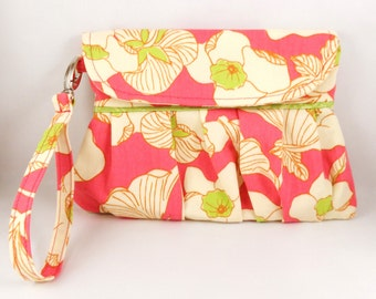 Gathered Clutch - Pink /Cream / Green Floral