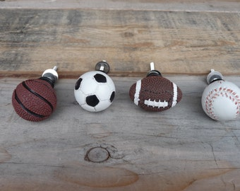 Choose - SPORTS KNOB - Baseball Football Basketball Soccer - Cabinet Drawer Pull - Boys Room knobs Decor