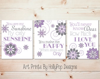 Nursery Art Prints You are my Sunshine Baby Girl Wall Decor Lavender Purple Gray Kids Wall Decor Modern Floral Nursery Art Girls Room Decor