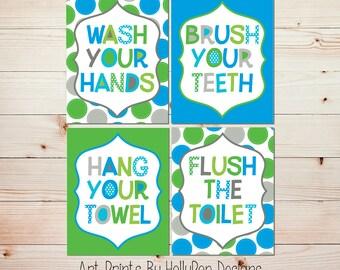 Kids Bathroom Wall Art Bright Colorful Bathroom Decor Wash