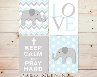 Boy Nursery Art Baby Boy Nursery Decor Nursery Art Prints Elephant Wall Decor Boy Artwork Kids Wall Art Blue Gray Nursery Prints #0642