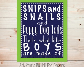 What Little Boys are Made of Boys Nursery Decor Toddler Baby Boys Room Art Print Puppy Dog Tails Navy Blue Lime Green Nursery Rhyme #0606