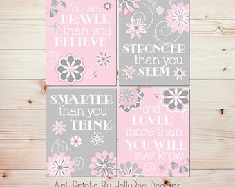 Girl wall art Pink gray baby room art Baby girl decor You are braver quote Floral girl decor Baby nursery art Girl nursery art prints #0805