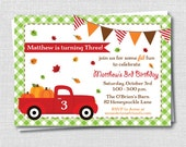 Red Truck Fall Birthday Invitation - Fall Themed Birthday Party