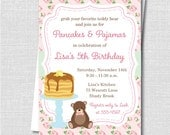 Shabby Chic Pancakes and Pajamas Birthday Invitation - Sleepover Party - Digital Design or Printed Invitations - FREE SHIPPING