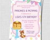 Polka Dot Pancakes and Pajamas Birthday Invitation - Sleepover Party - Digital Design or Printed Invitations - FREE SHIPPING