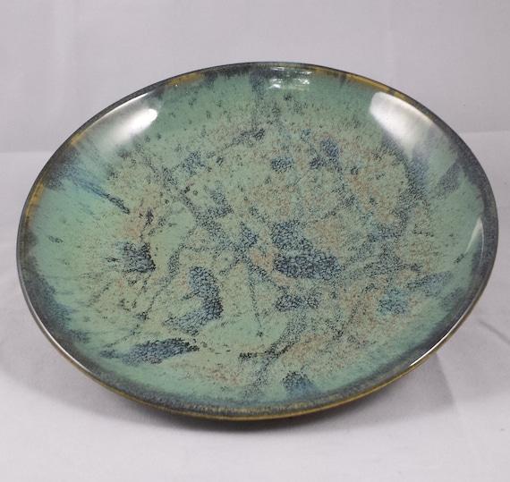 Hand Thrown Stoneware Plate Aquamarine With Dark By Mudandpurl