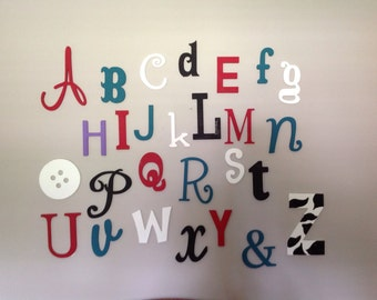 Alphabet Letters Set, Painted Wooden Letters -Wooden alphabet letter nursery wall art- Nursery Decor - Home Decor - MIxed Size and Font