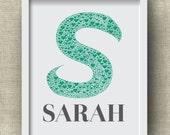 Custom Baby Name Art - Letter S Monogram Nursery Art, Initial Art Print, Baby Boy, Baby Girl, Baby Initial, Nursery Print