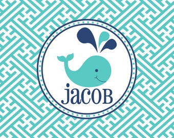 Personalized Placemat - 12x18 laminated placemat whale