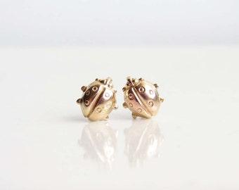 Teeny Tiny Lucky Ladybug Earrings. Brass Ladybug Stud Earrings. Simple Modern Jewelry