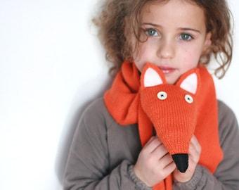 Red fox scarf - Children knit Fox scarf  -  Animal scarf - Knitted kids scarf - Child scarf - Knitted woman scarf - Knit scarf