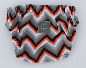 Orange multi color Chevron Diaper Cover. newborn to toddler. gray grey