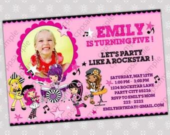 Strawberry Shortcake Rockstar Birthday Party Invitation - Digital File