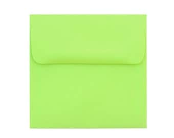 25 5.5 x 5.5  Spring Green Square-Flap Envelope - 5 1/2 x 5 1/2