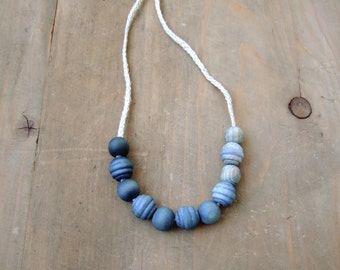 Blue ombre necklace, wooden beads, indigo woad hand dyed, organic hemp cord, earth friendly vegan jewelry