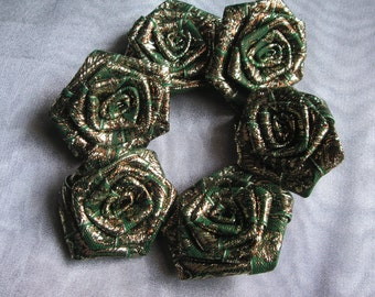 Sale - Green Fabric Rolled Rosette Applique - Flower Patch - Set of 6
