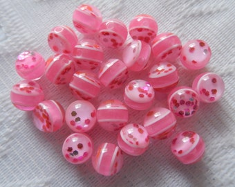 25  Hottest Pink Glitter Striped Pink Sparkle Round Resin Acrylic Beads  8mm