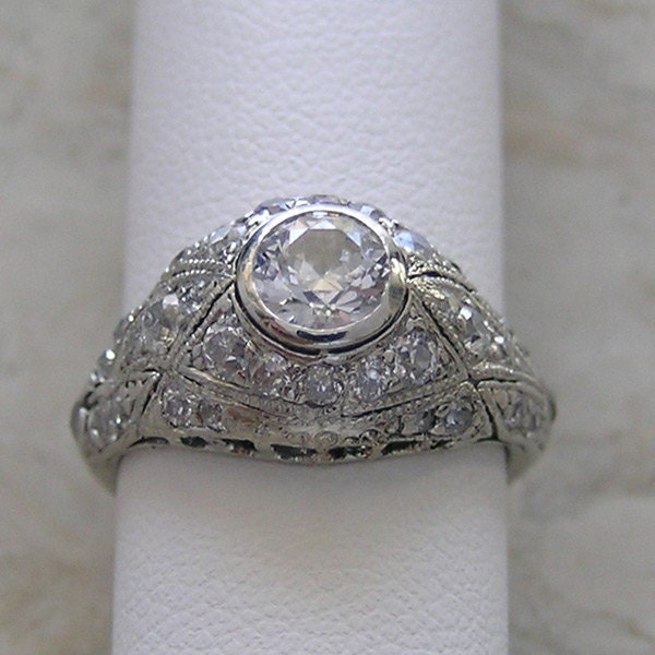 antique engagement ring bezel set by