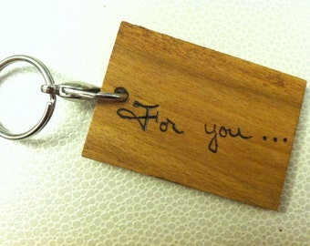 DOUBLE-SIDED Wooden Keychain with Wood Burned Handwriting