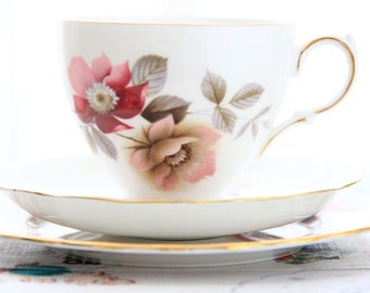 Cheery floral vintage Royal Vale teacup, saucer and tea plate