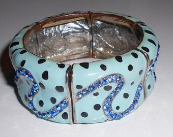 Vintage panel bracelet Blue crystals in a snake design, baby blue enamel
