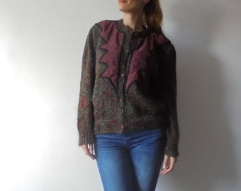 Vintage Sweater.Women Colorful Knit.