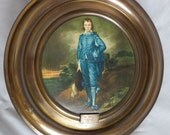 Vintage Hand Painted Blue Boy 12 Inch Brass Metal Plate England